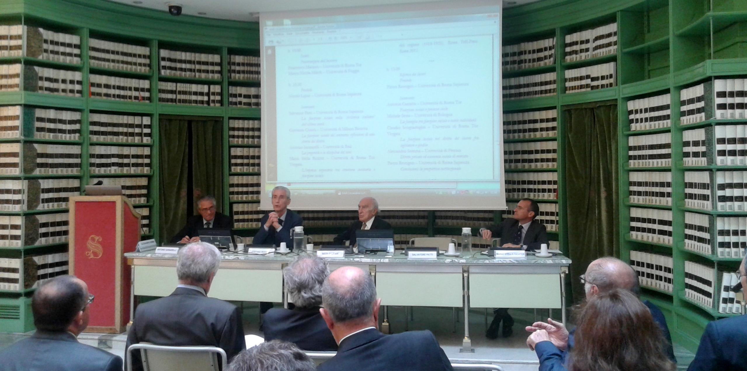 Da sinistra: Antonio Iannarelli, Stefano Rodotà, Nicolò Lipari e Mario Stella Richter