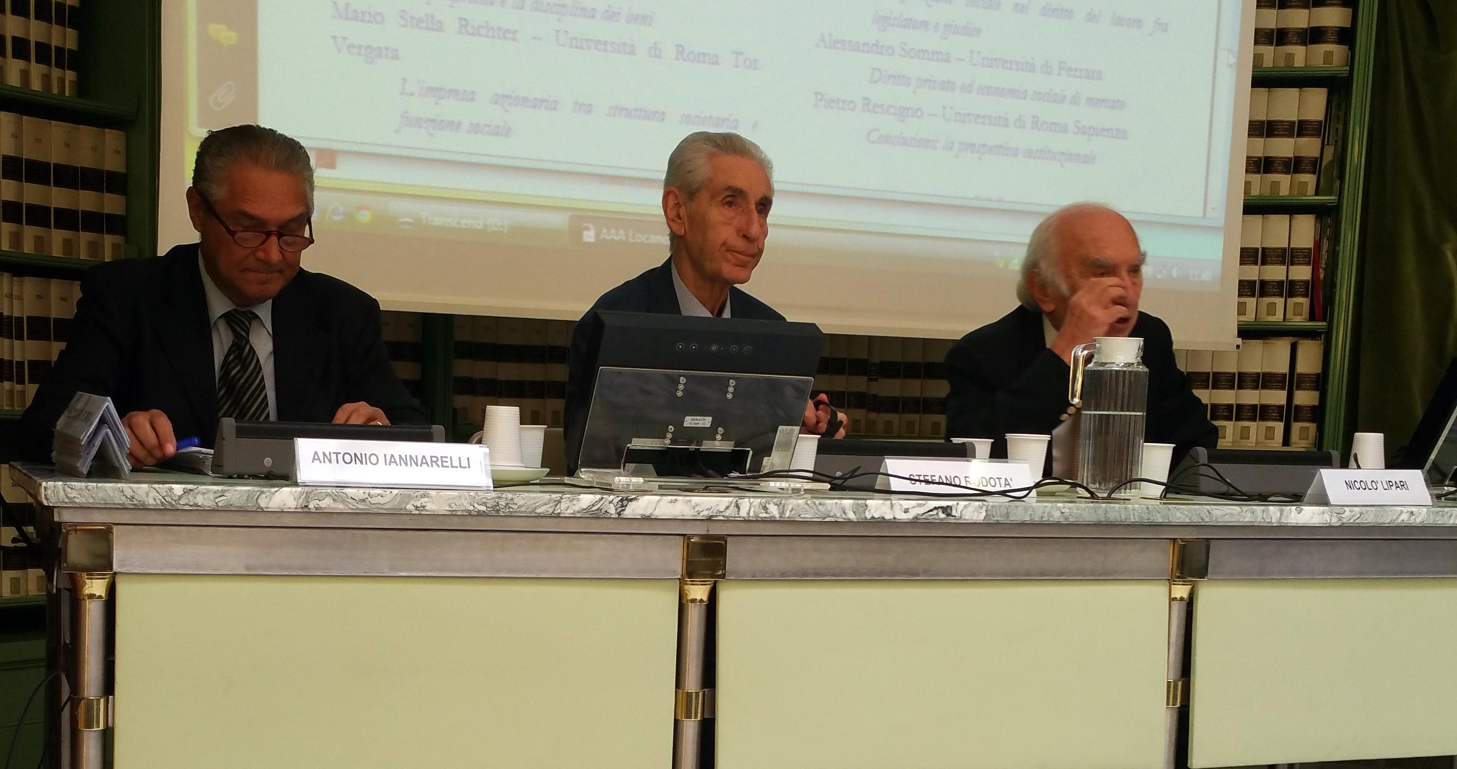 Da sinistra: Antonio Iannarelli, Stefano Rodotà e Nicolò Lipari